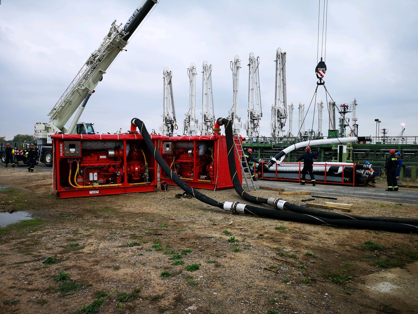 Temporary pump system with a capacity of 28.000 lpm